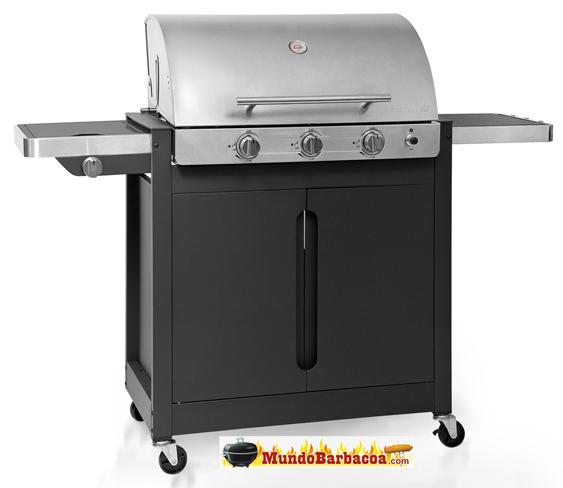 Barbacoa de Gas Barbecook Brahma 4.2 con tapa de acero inox. de tres quemadores más quemador lateral