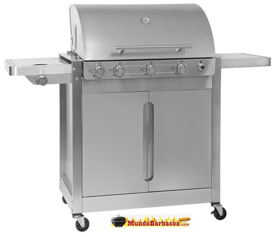 Barbacoa de Gas Barbecook Brahma 5.2 con tapa de acero inox. de tres quemadores más quemador lateral