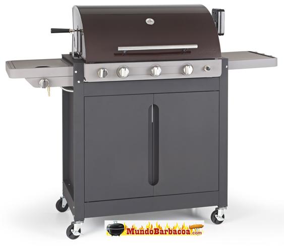 Barbacoa de Gas Barbecook Brahma 5.2 con tapa de acero inox. de tres quemadores más quemador lateral y rustidor trasero