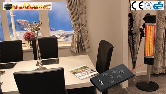 Calefactor de infrarojos Veito de pie con base en el suelo y mando a distancia